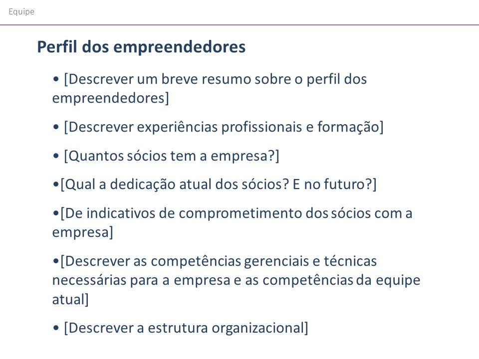 Equipe [Descrever um breve resumo sobre o perfil dos empreendedores] [Descrever experiências profissionais e formação] [Quantos sócios tem a empresa?]