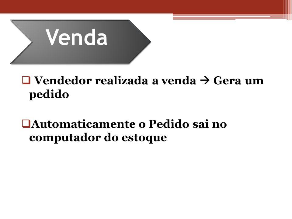 Vendedor realizada a venda Gera um pedido Automaticamente o Pedido sai no computador do estoque Venda