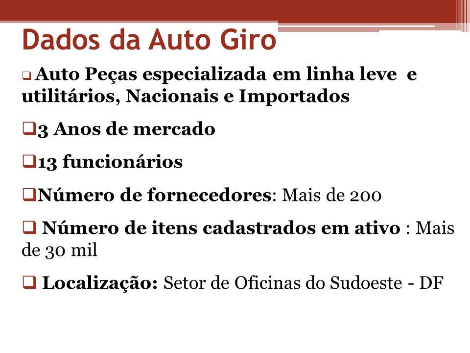 Dados da Auto Giro Auto Peças especializada em linha leve e utilitários, Nacionais e Importados 3 Anos de mercado 13 funcionários Número de fornecedor