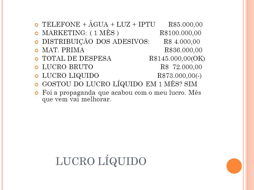 LUCRO LÍQUIDO TELEFONE + ÁGUA + LUZ + IPTU R$5.000,00 MARKETING: ( 1 MÊS ) R$100.000,00 DISTRIBUIÇÃO DOS ADESIVOS: R$ 4.000,00 MAT.