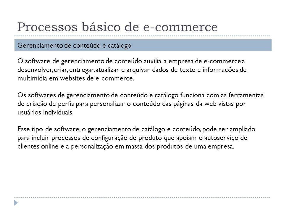 Processos básico de e-commerce Gerenciamento de conteúdo e catálogo O software de gerenciamento de conteúdo auxilia a empresa de e-commerce a desenvol