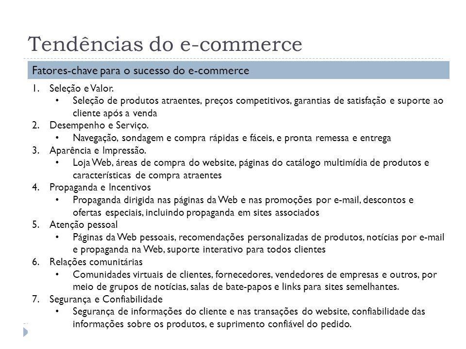 Tendências do e-commerce Fatores-chave para o sucesso do e-commerce 1.Seleção e Valor. Seleção de produtos atraentes, preços competitivos, garantias d