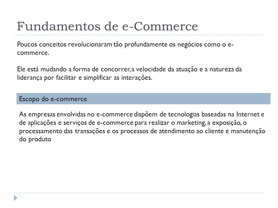 Fundamentos de e-Commerce Poucos conceitos revolucionaram tão profundamente os negócios como o e- commerce. Ele está mudando a forma de concorrer, a v