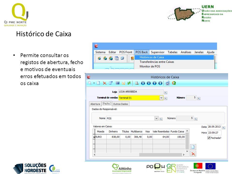 Histórico de Caixa Permite consultar os registos de abertura, fecho e motivos de eventuais erros efetuados em todos os caixa
