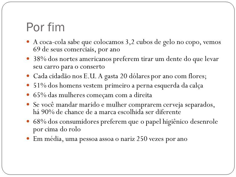 Por fim A coca-cola sabe que colocamos 3,2 cubos de gelo no copo, vemos 69 de seus comerciais, por ano 38% dos nortes americanos preferem tirar um den