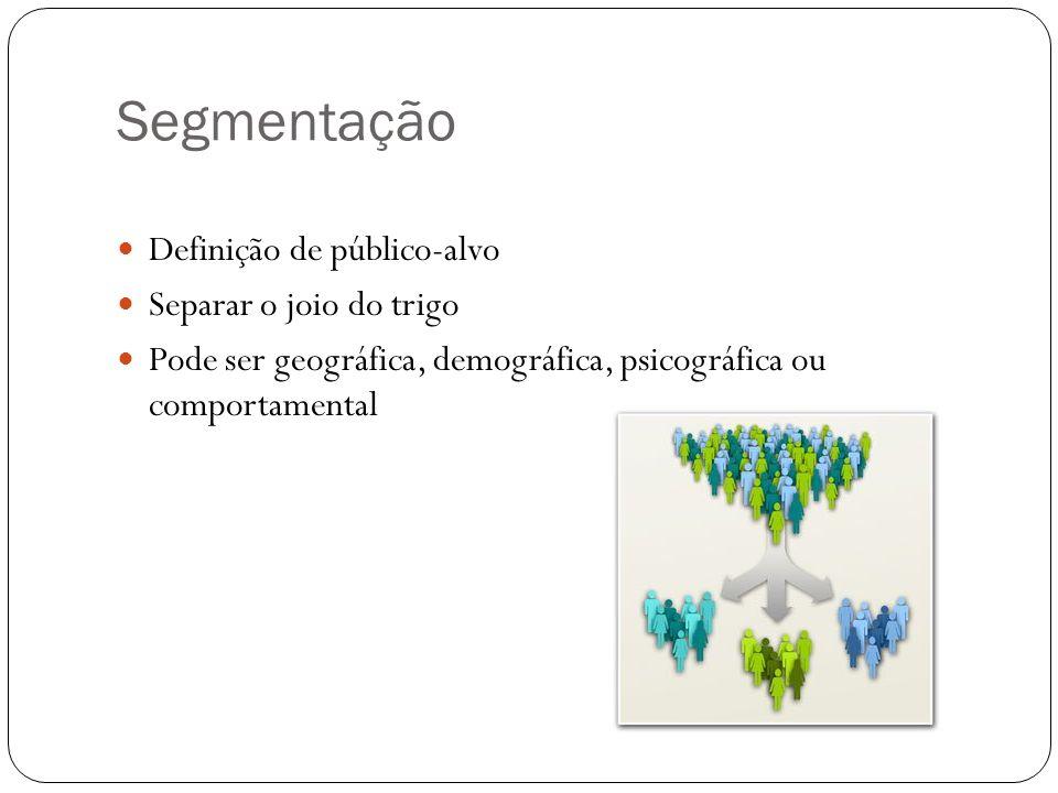 Segmentação Definição de público-alvo Separar o joio do trigo Pode ser geográfica, demográfica, psicográfica ou comportamental