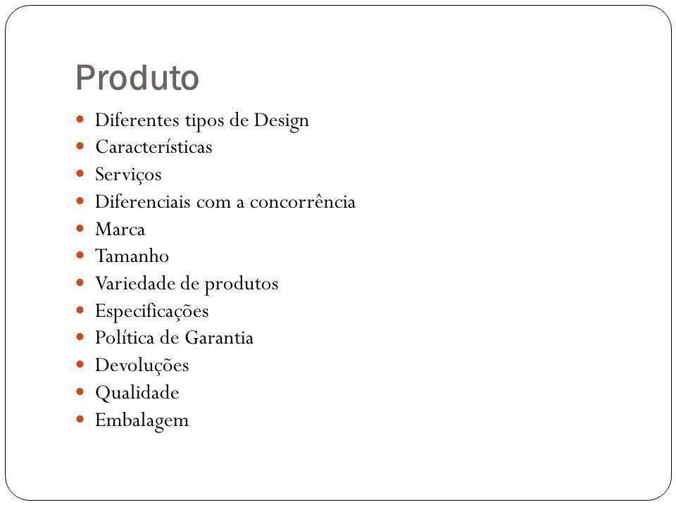 Produto Diferentes tipos de Design Características Serviços Diferenciais com a concorrência Marca Tamanho Variedade de produtos Especificações Polític