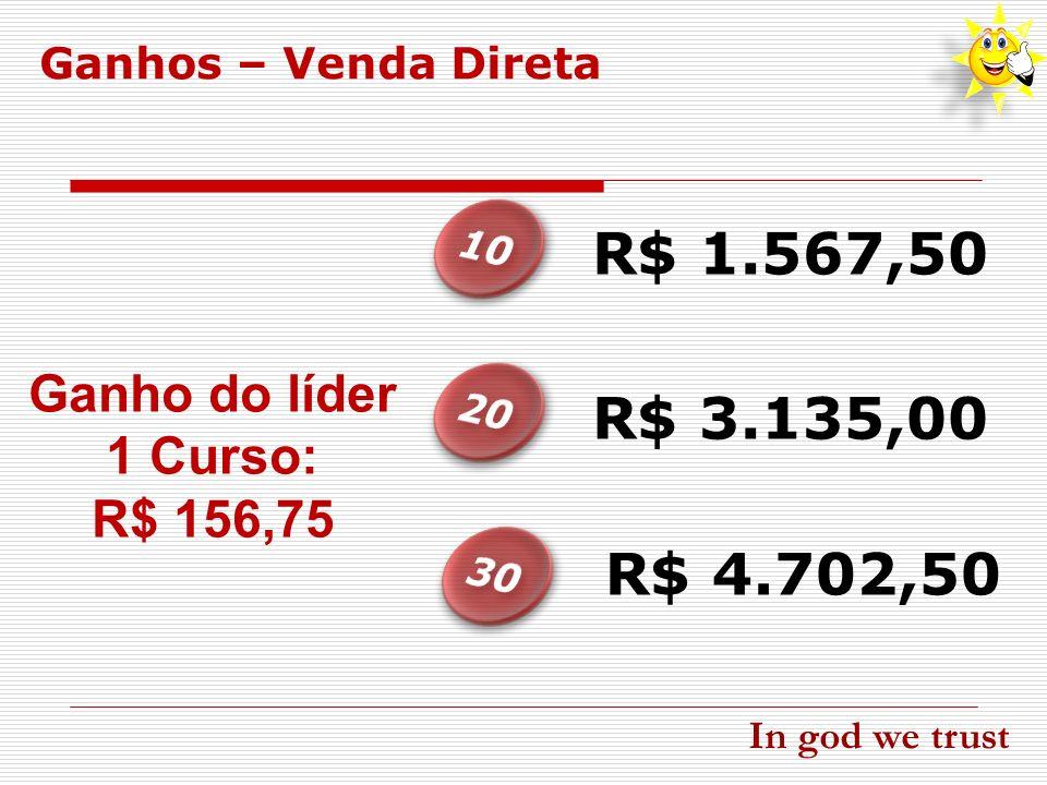 Ganho do líder 1 Curso: R$ 156,75 R$ 1.567,50 R$ 4.702,50 R$ 3.135,00 Ganhos – Venda Direta In god we trust
