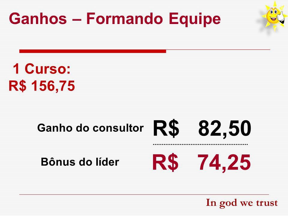 R$ 82,50 R$ 74,25 Ganhos – Formando Equipe 1 Curso: R$ 156,75 Ganho do consultor Bônus do líder In god we trust