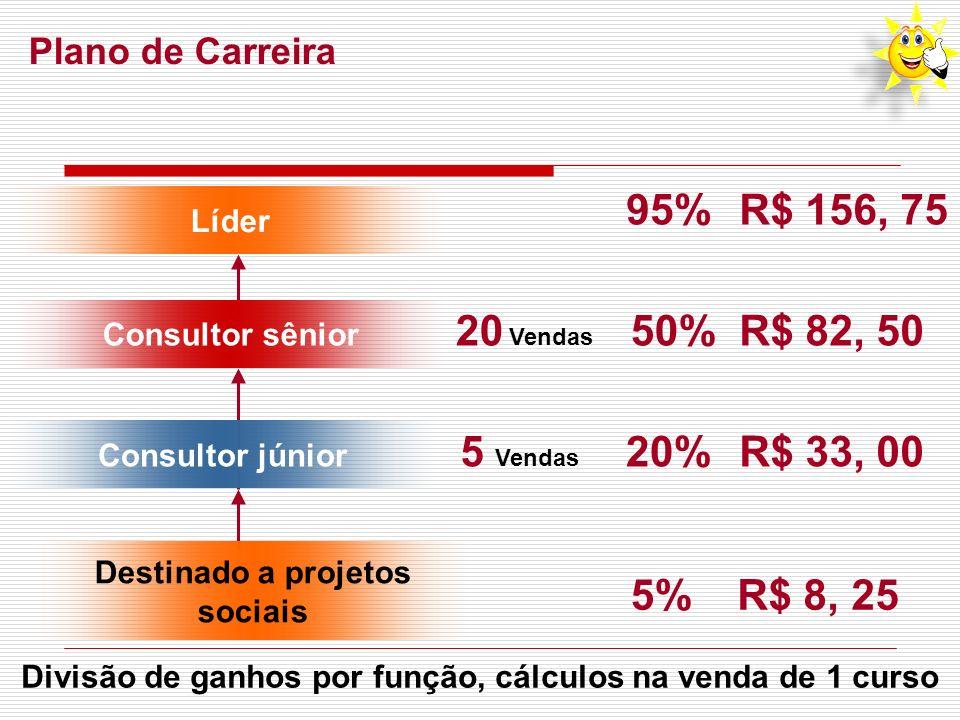 Plano de Carreira 5 Vendas 20 Vendas 20%R$ 33, 00 50%R$ 82, 50 95%R$ 156, 75 Consultor júnior Consultor sênior Líder Destinado a projetos sociais 5%R$