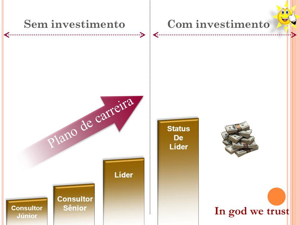 Plano de carreira Sem investimentoCom investimento Consultor Júnior Consultor Sênior Líder Status De Líder In god we trust