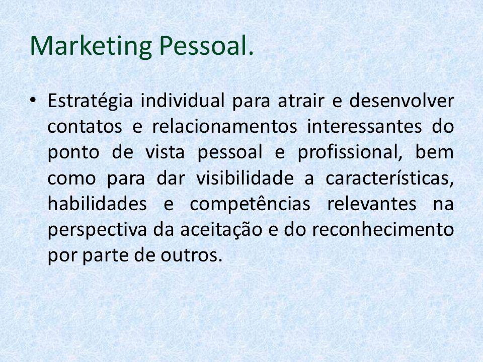 Marketing Pessoal. Estratégia individual para atrair e desenvolver contatos e relacionamentos interessantes do ponto de vista pessoal e profissional,