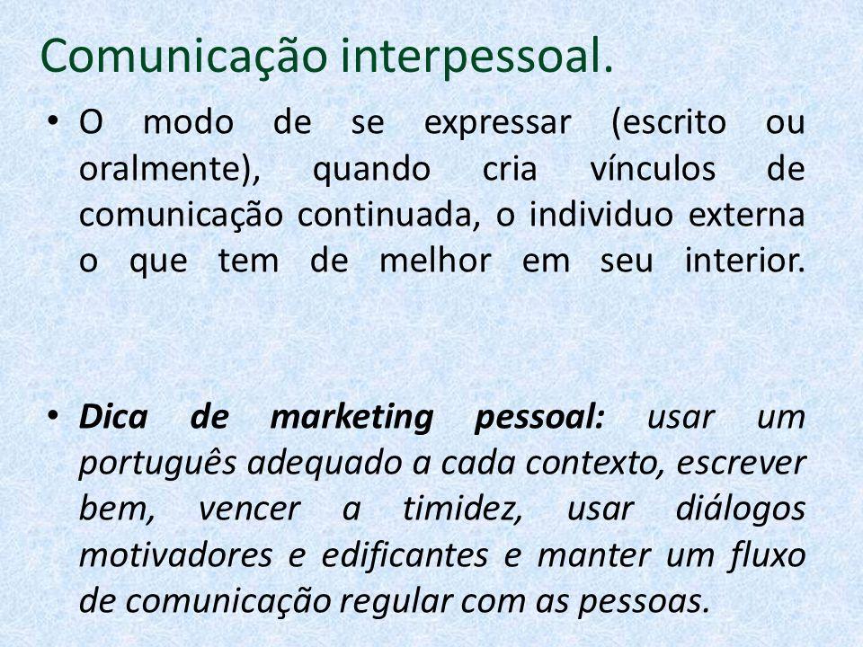 Comunicação interpessoal. O modo de se expressar (escrito ou oralmente), quando cria vínculos de comunicação continuada, o individuo externa o que tem