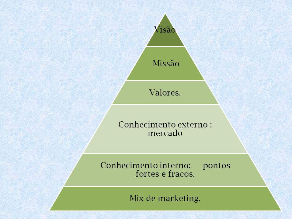 Visão Missão Valores. Conhecimento externo : mercado Conhecimento interno: pontos fortes e fracos. Mix de marketing.
