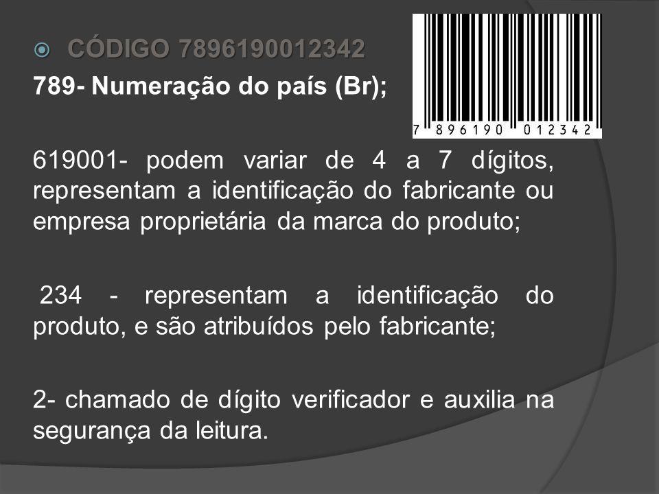CÓDIGO DE BARRAS É uma forma de representar a numeração, que viabiliza a captura automática dos dados por meio de leitura óptica nas operações automat