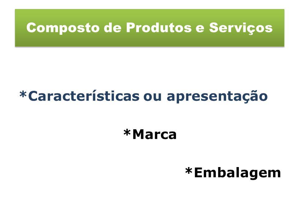 *Características ou apresentação *Marca *Embalagem Composto de Produtos e Serviços