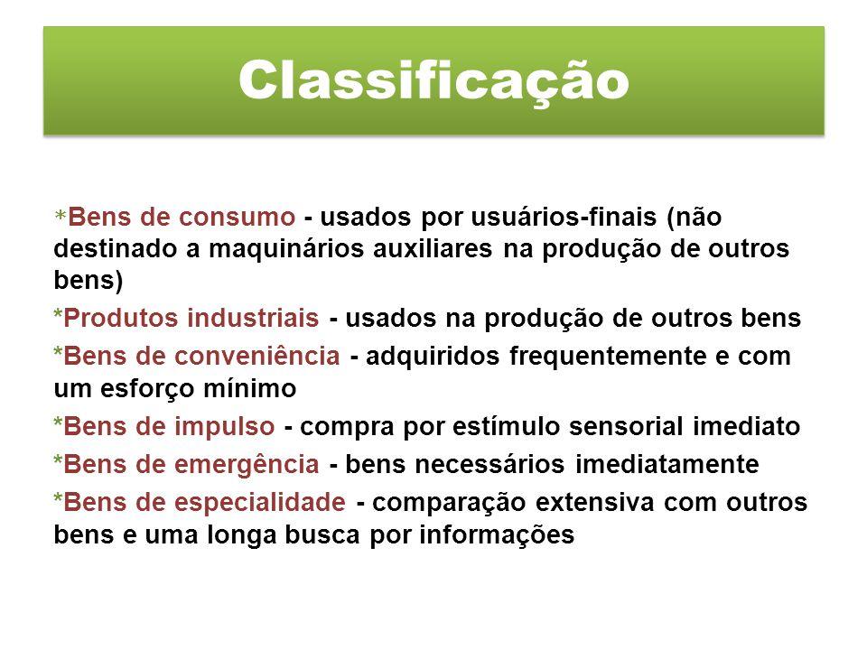* Bens de consumo - usados por usuários-finais (não destinado a maquinários auxiliares na produção de outros bens) *Produtos industriais - usados na p