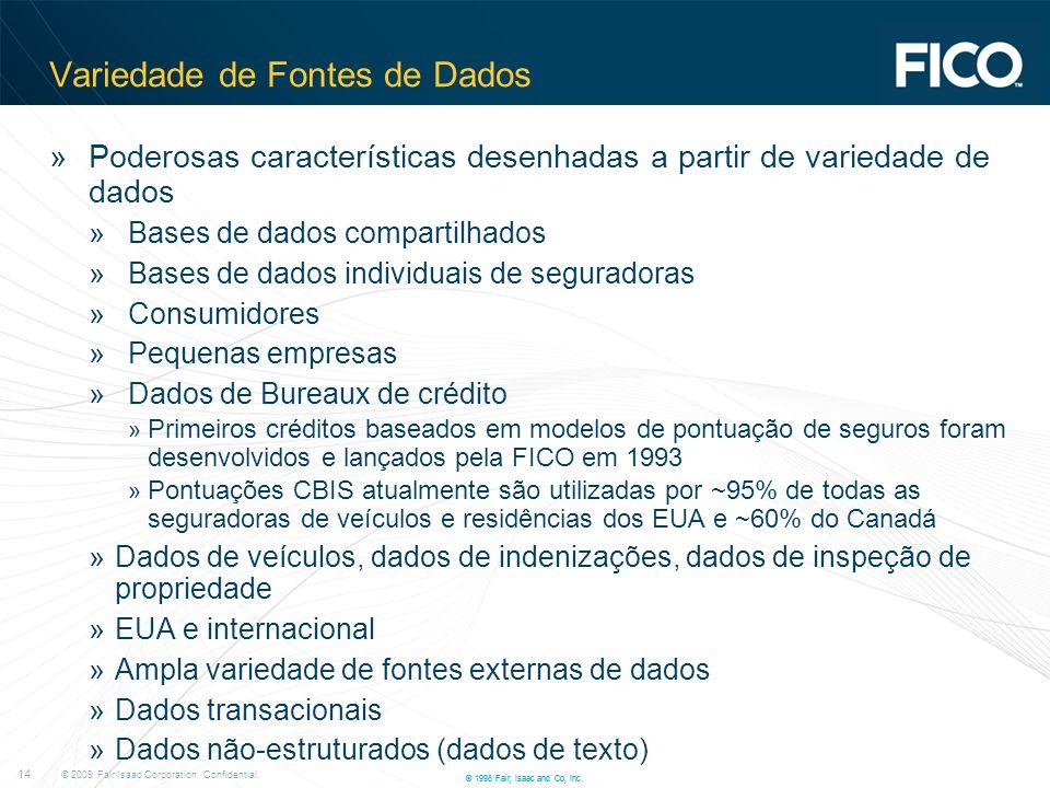© 2009 Fair Isaac Corporation. Confidential. 14 © 1996 Fair, Isaac and Co, Inc. Variedade de Fontes de Dados »Poderosas características desenhadas a p