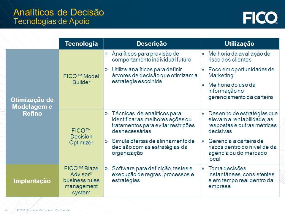 © 2009 Fair Isaac Corporation. Confidential. 22 Analíticos de Decisão Tecnologias de Apoio TecnologiaDescriçãoUtilização Otimização de Modelagem e Ref