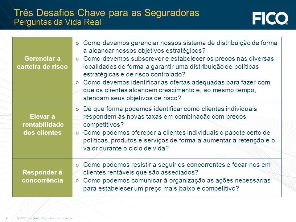 © 2009 Fair Isaac Corporation. Confidential. 4 Três Desafios Chave para as Seguradoras Perguntas da Vida Real Gerenciar a carteira de risco »Como deve