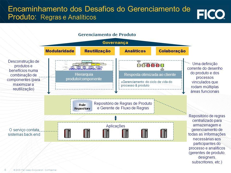 © 2009 Fair Isaac Corporation. Confidential. 6 Encaminhamento dos Desafios do Gerenciamento de Produto: Regras e Analíticos Modularidade Resposta otim
