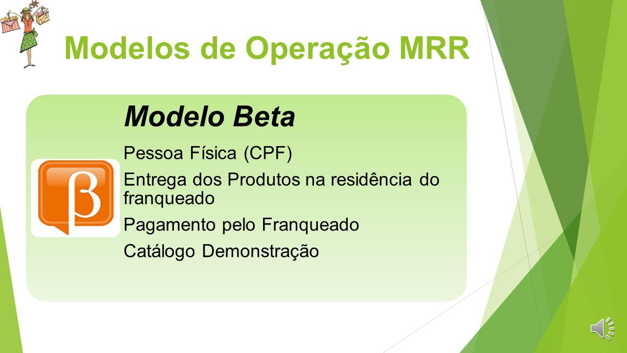 Modelos de Operação MRR Modelo Alpha Pagamento pelo Consumidor Final Entrega dos produtos ao Franqueado Pessoa Jurídica (CNPJ) Catálogo Vendas