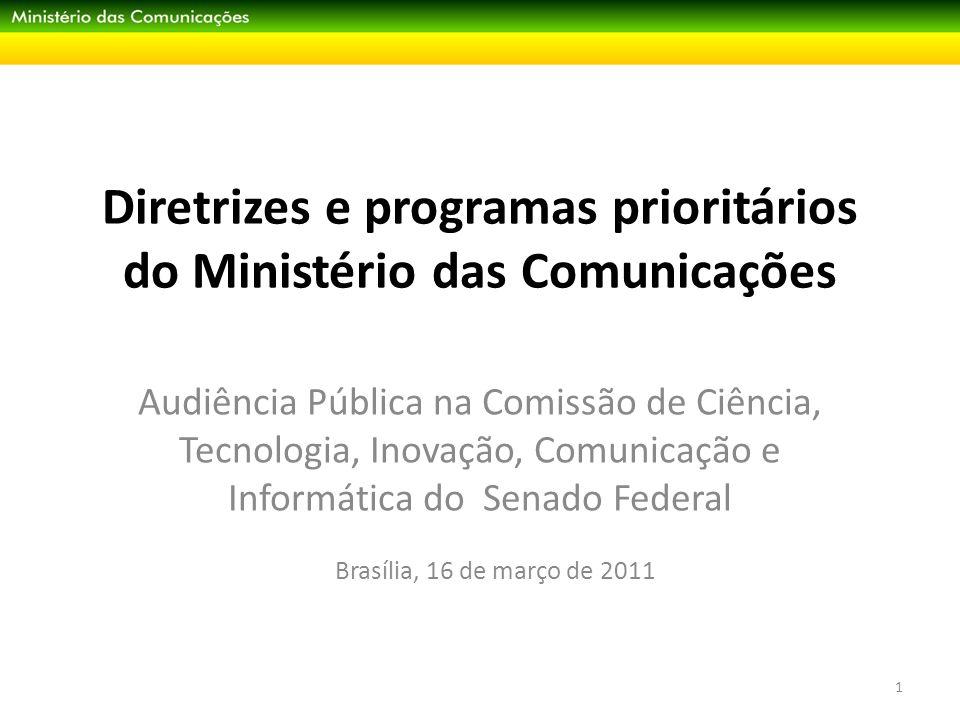 Desafio Institucional Fortalecer o Ministério e sua capacidade de formulação de políticas públicas para o setor de comunicações 2