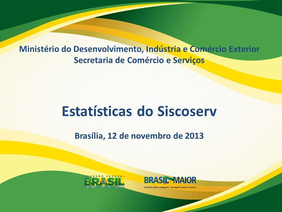 Ministério do Desenvolvimento, Indústria e Comércio Exterior Secretaria de Comércio e Serviços Estatísticas do Siscoserv Brasília, 12 de novembro de 2