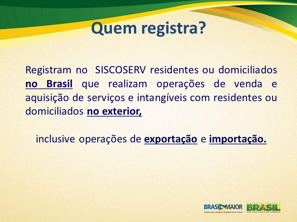 Registram no SISCOSERV residentes ou domiciliados no Brasil que realizam operações de venda e aquisição de serviços e intangíveis com residentes ou do