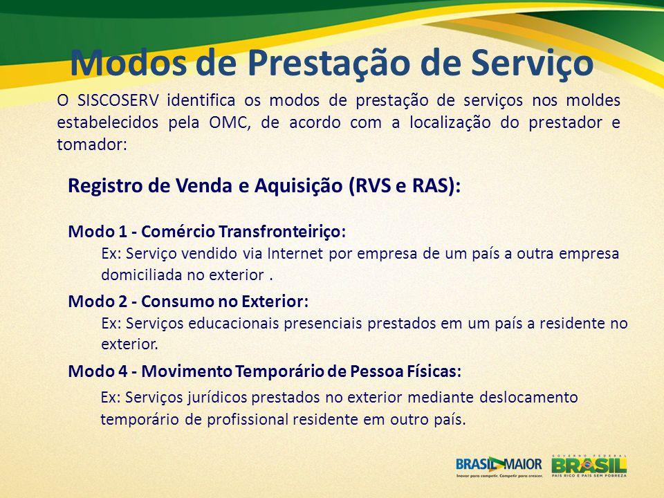 O SISCOSERV identifica os modos de prestação de serviços nos moldes estabelecidos pela OMC, de acordo com a localização do prestador e tomador: Regist