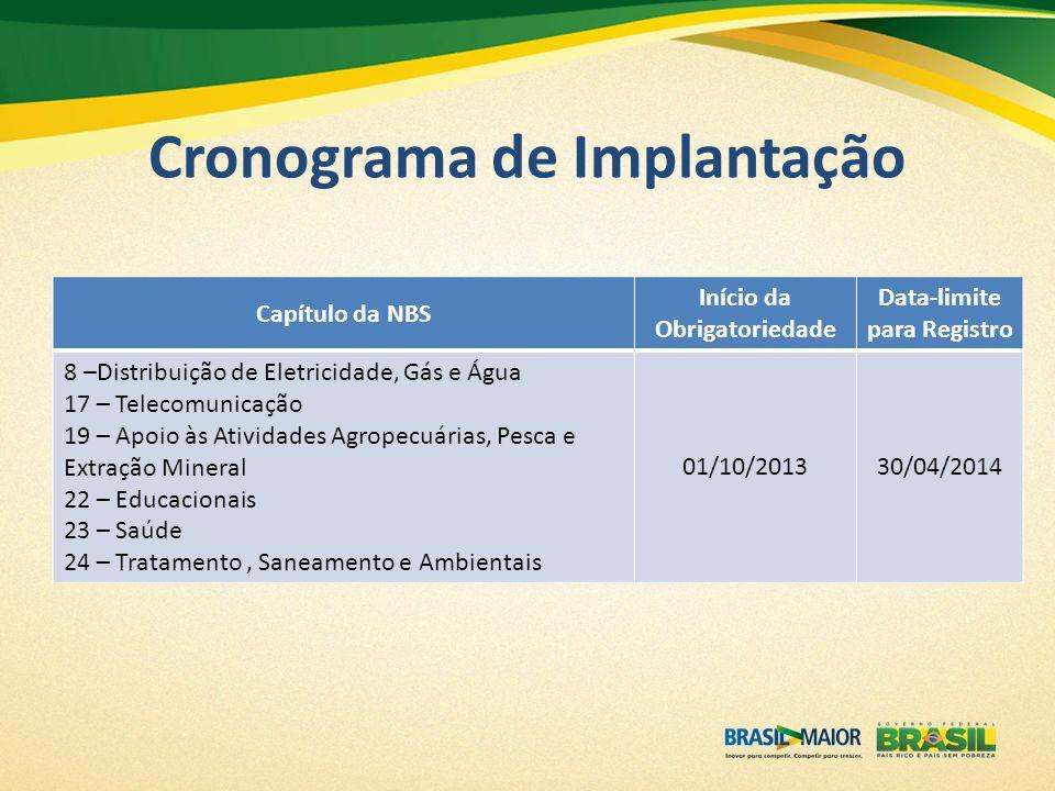 Cronograma de Implantação Capítulo da NBS Início da Obrigatoriedade Data-limite para Registro 8 –Distribuição de Eletricidade, Gás e Água 17 – Telecom