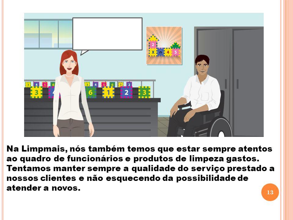 Na Limpmais, nós também temos que estar sempre atentos ao quadro de funcionários e produtos de limpeza gastos. Tentamos manter sempre a qualidade do s