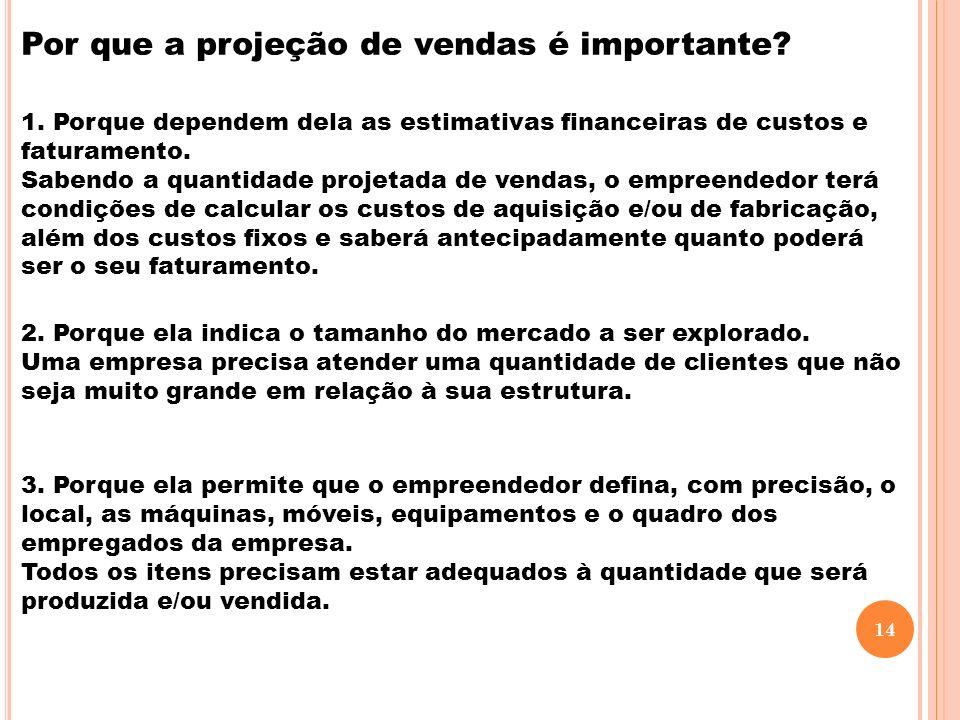 Por que a projeção de vendas é importante? 1. Porque dependem dela as estimativas financeiras de custos e faturamento. Sabendo a quantidade projetada