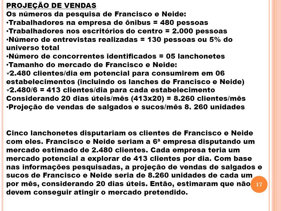 PROJEÇÃO DE VENDAS Os números da pesquisa de Francisco e Neide: Trabalhadores na empresa de ônibus = 480 pessoas Trabalhadores nos escritórios do cent