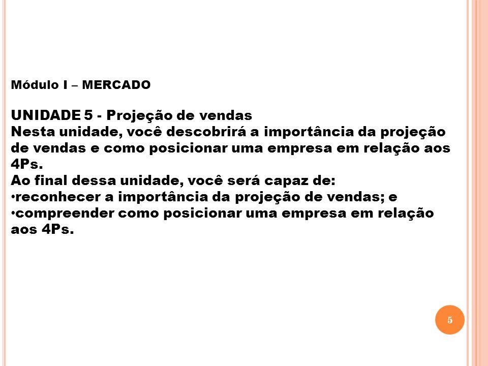 Módulo I – MERCADO UNIDADE 5 - Projeção de vendas Nesta unidade, você descobrirá a importância da projeção de vendas e como posicionar uma empresa em relação aos 4Ps.