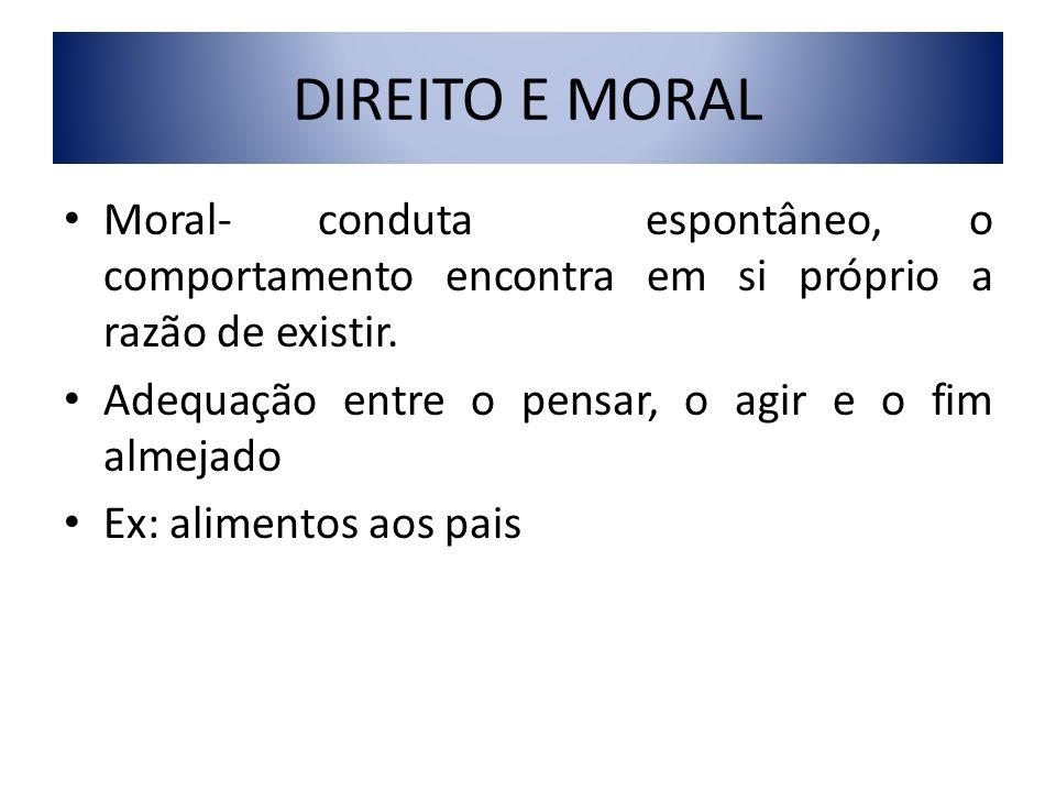 DIREITO E MORAL Moral- conduta espontâneo, o comportamento encontra em si próprio a razão de existir. Adequação entre o pensar, o agir e o fim almejad
