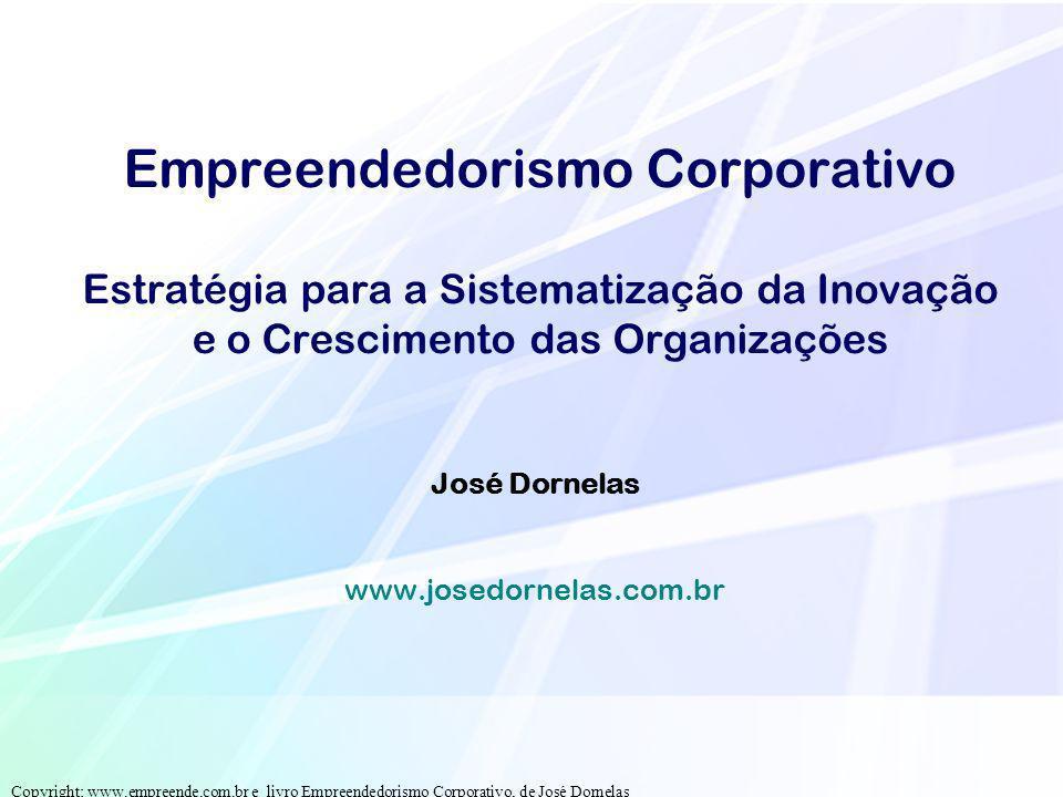 Empreendedorismo Corporativo Estratégia para a Sistematização da Inovação e o Crescimento das Organizações José Dornelas www.josedornelas.com.br Copyr