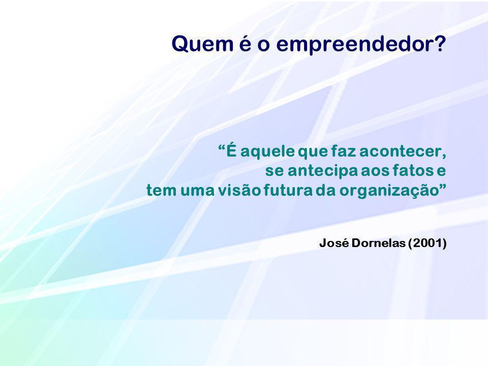 Quem é o empreendedor? É aquele que faz acontecer, se antecipa aos fatos e tem uma visão futura da organização José Dornelas (2001)