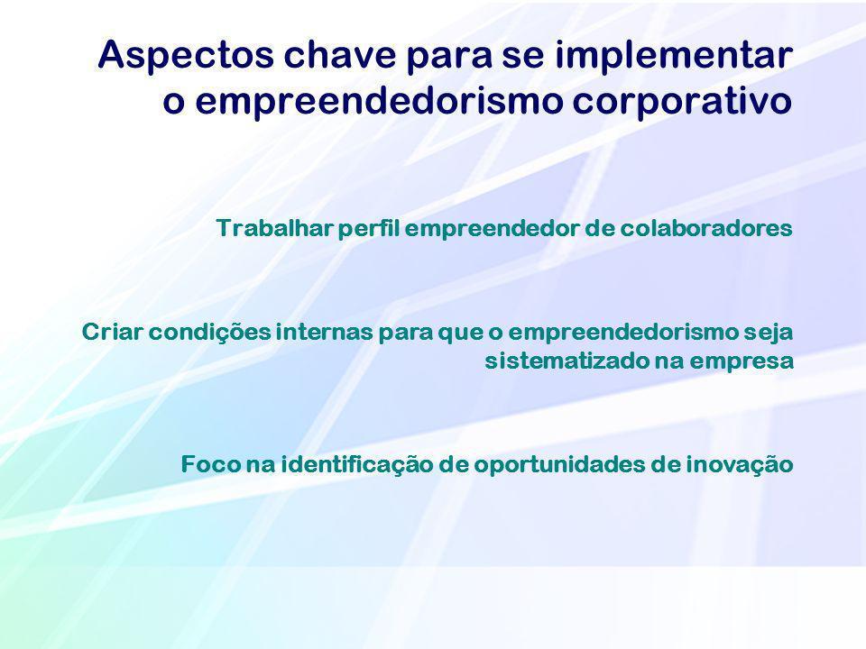Aspectos chave para se implementar o empreendedorismo corporativo Trabalhar perfil empreendedor de colaboradores Criar condições internas para que o e