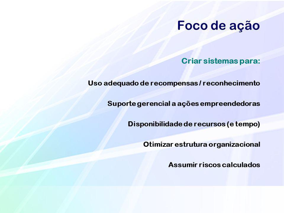 Foco de ação Criar sistemas para: Uso adequado de recompensas / reconhecimento Suporte gerencial a ações empreendedoras Disponibilidade de recursos (e