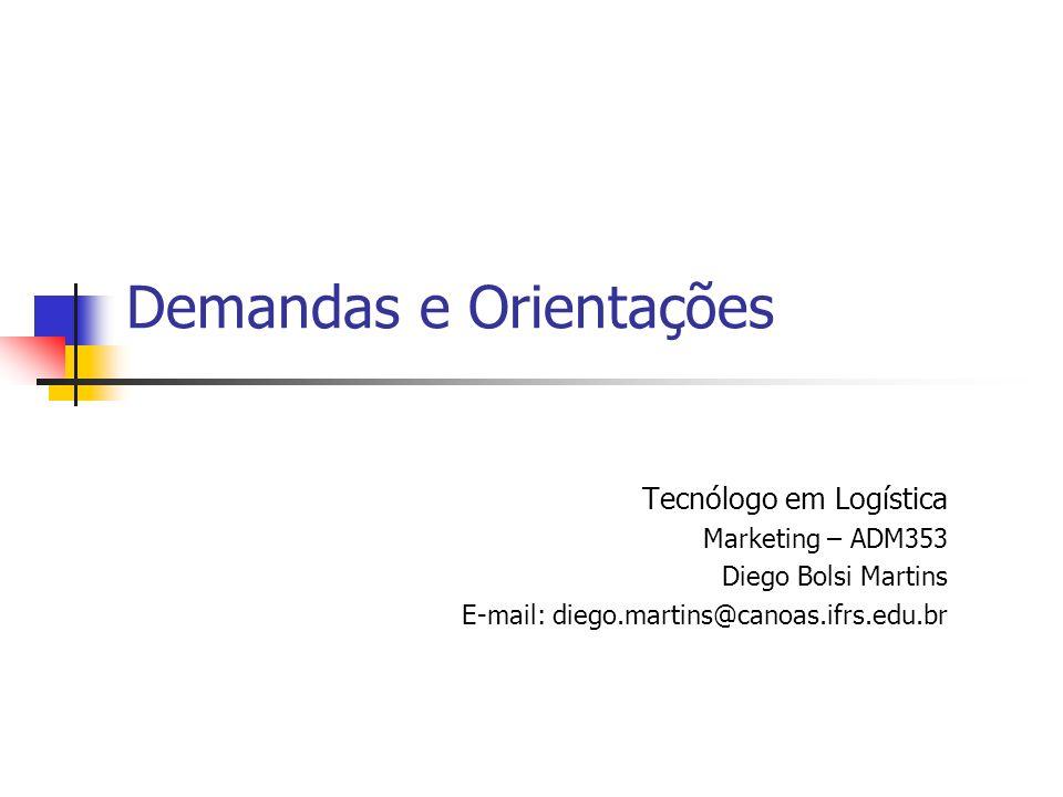 Demandas e Orientações Tecnólogo em Logística Marketing – ADM353 Diego Bolsi Martins E-mail: diego.martins@canoas.ifrs.edu.br