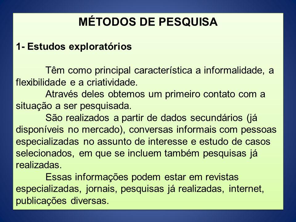 MÉTODOS DE PESQUISA 1- Estudos exploratórios Têm como principal característica a informalidade, a flexibilidade e a criatividade. Através deles obtemo