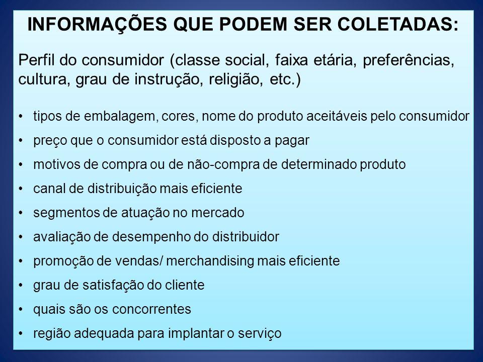 INFORMAÇÕES QUE PODEM SER COLETADAS: Perfil do consumidor (classe social, faixa etária, preferências, cultura, grau de instrução, religião, etc.) tipo