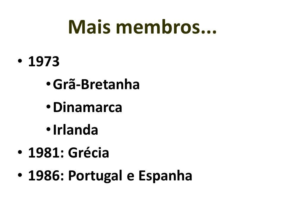 1973 Grã-Bretanha Dinamarca Irlanda 1981: Grécia 1986: Portugal e Espanha Mais membros...