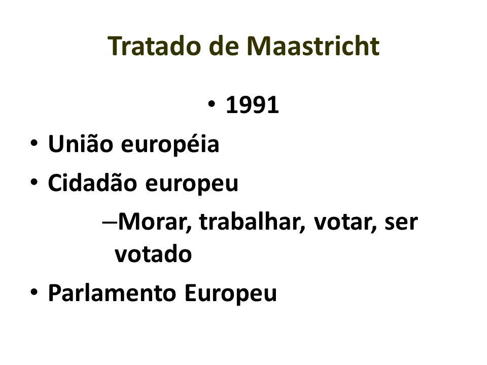 Tratado de Maastricht 1991 União européia Cidadão europeu – Morar, trabalhar, votar, ser votado Parlamento Europeu