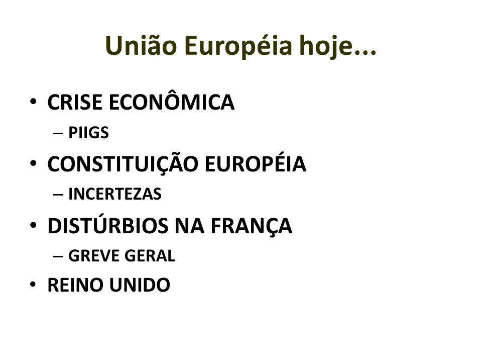 União Européia hoje... CRISE ECONÔMICA – PIIGS CONSTITUIÇÃO EUROPÉIA – INCERTEZAS DISTÚRBIOS NA FRANÇA – GREVE GERAL REINO UNIDO