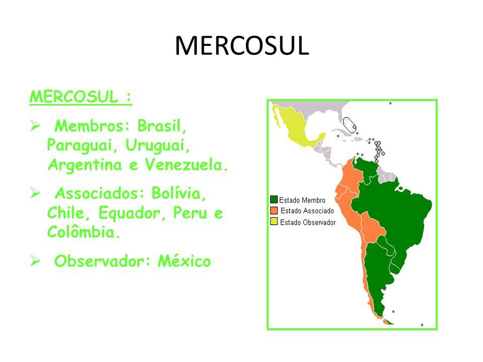 MERCOSUL MERCOSUL : Membros: Brasil, Paraguai, Uruguai, Argentina e Venezuela. Associados: Bolívia, Chile, Equador, Peru e Colômbia. Observador: Méxic