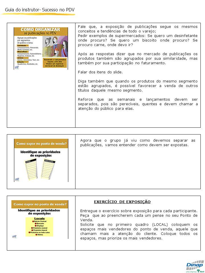 Guia do instrutor- Sucesso no PDV Fale que, a exposição de publicações segue os mesmos conceitos e tendências de todo o varejo; Pedir exemplos de supe