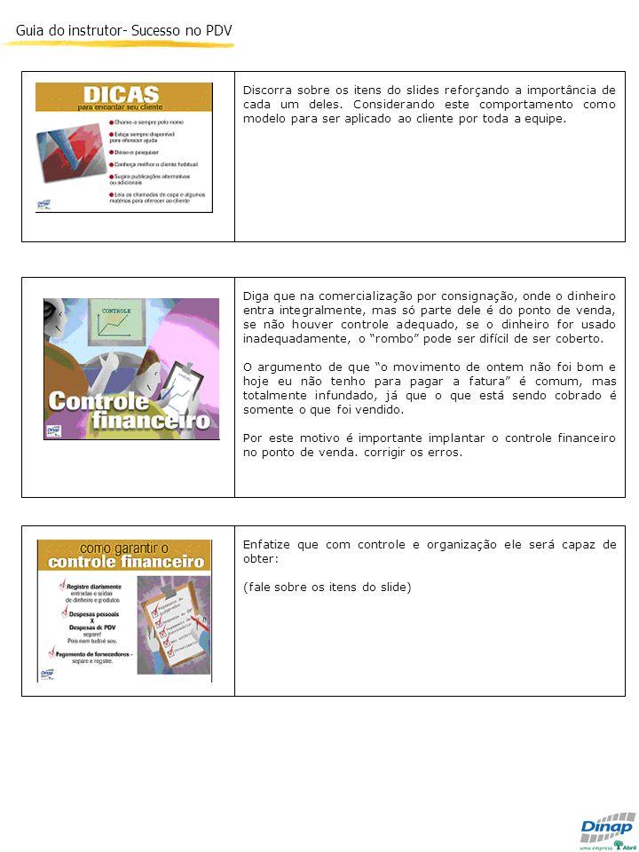 Guia do instrutor- Sucesso no PDV Discorra sobre os itens do slides reforçando a importância de cada um deles. Considerando este comportamento como mo
