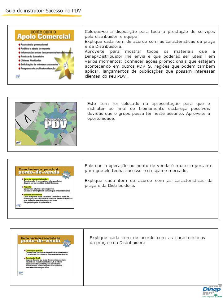 Guia do instrutor- Sucesso no PDV Fale que a operação no ponto de venda é muito importante para que ele tenha sucesso e cresça no mercado. Explique ca